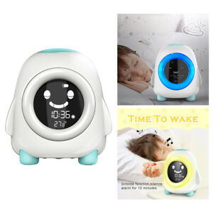 Modern Desk Digital Kids Alarm Clock Sleep Trainer with Nightlight 12/24Hr