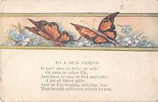 Butterflies & Forget-Me-Nots on 1921 Get Well Postcard-Sympathy Message 2298