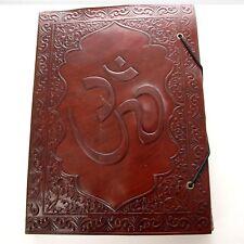 Lederbuch 26 x 19 cm  Notizbuch OM Tagebuch Buch Leder Kladde Indien Aum XL