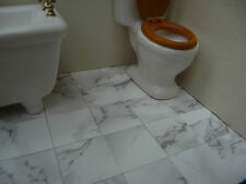 """25 Marble-esque  LIGHT VEINED WHITE 1"""" Dolls House Floor Tiles"""