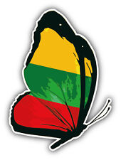 Lithuania Flag Butterfly Car Bumper Sticker Decal 4'' x 5''