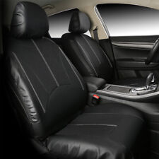 Black Auto Car Seat Covers PU Leather Front Rear Full Set Universal Accessories