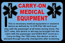 Sky Blue Carry-On Medical Equipment  Bag Tag - TSA - CPAP BiPAP APNEA POC