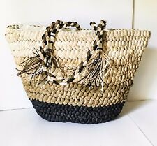 Straw bag  Lined woven straw tote bag