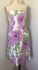 Ann Taylor LOFT Dress Sz 10 Purple Flower Easter Wedding Party Spring Summer Mod