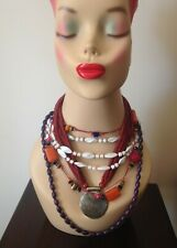 4x VINTAGE/RETRO NECKLACES - ALL WEARABLE - ASSORTED COLOURS & LENGTHS