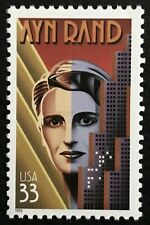 1999 Scott #3308 - 33¢ - Ayn Rand - Single Mint Nh