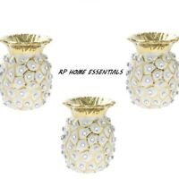 Pineapple Tea Light Candle Holder 11cm White Gold Diamante Decorative Ornaments