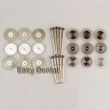 18 Diamond Polisher Wheel Saw Disc Dental Plaster Resin Cutter+10 HP Mandrels