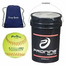 ProNine 12 Inch Softballs in Bucket (24 Balls) Bundled with Covey Sports...