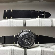 20 mm Black Leather cream stitches Strap band bracelet for vintage speedmaster