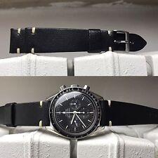 handmade watch strap genuine leather 20mm BLACK LEATHER cream stitches, 20/16mm
