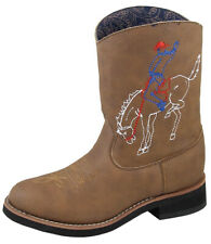 Kid'S Night Horse Brown Distress Cowboy Kids Boot