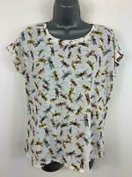 WOMENS PER UNA M&S WHITE DRAGON FLY PRINT CASUAL SLEEVELESS T SHIRT TOP SIZE 12