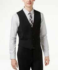 $225 Calvin Klein 36r Men'S Black Wool Modern Fit 4 Button Suit Vest Waistcoat
