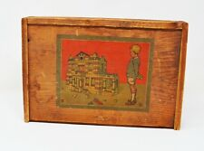 Antique Germany Architectural wood building blocks in litho box