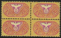 Stamp Germany Revenue Block WW2 Fascism War Era Invalid IX 540 MNH