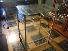 Ancien meuble de métier desserte médicale en métal peint verre style industriel