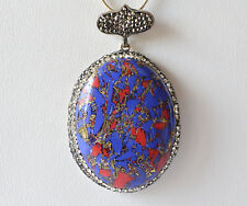 Lapis & Coral Pendant Mosaic Marcasite Sterling Silver Turkish Jewelry 925