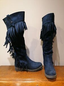 Xti Size 6 Royal Blue Navy Long Over Knee Tassle Boots Velvet Suede