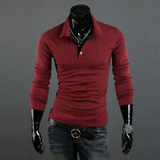 Fashion Men's Slim Fit Casual Long Sleeve POLO Shirt T-shirt Tee New Tops Blouse