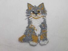 Perky Seated Calico Kitten Embroidered Iron On Patch