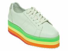 Volatile Women's Jukebox Wedge Lace up Fashion Shoes White Rainbow Size 7.5