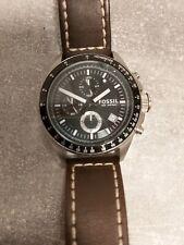 Fossil ch2573 reloj de pulsera para caballeros usado auténtico pulsera de cuero chronograph