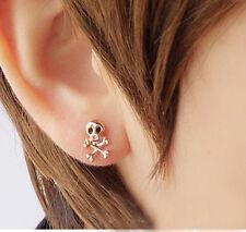 1pair Punk Men's Women Silver Stainless Steel Skull Screw Stud Earring 1.5*1.1cm