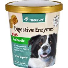 NaturVet Digestive Enzymes Plus Probiotics Soft Chews For Dogs 70Ct Cup