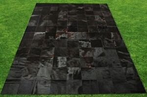 New Large Cowhide Rug Patchwork Cowskin Cow Hide Leather Carpet.Black.