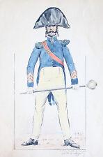 ERNEST FORT AQUARELLE MILITAIRE TAMBOUR MAJOR DE LA GARDE EMPIRE