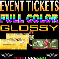 """1000 Event Tickets 100LB 2""""x5.5""""  GLOSSY Full Color 2 x 5.5  With Numbering"""