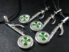 charm four leaf clover musical note pendant Low fee 12 pcs green shamrock lucky