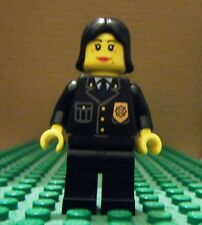 LEGO MINIFIGURE – TOWN CITY - POLICE – FEMALE CITY SUIT, BLACK HAIR – GENTLY USE