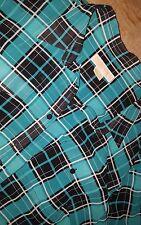 Womens Michael Kors Blouse shirt sheer plaid 2X plus size button black teal