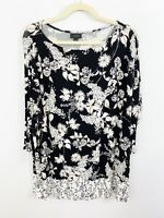 J. Jill Wearever Collection Black Floral Size XL Top Tunic Stretch Rayon Blend
