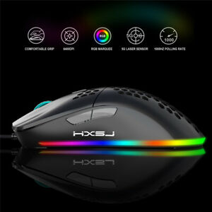 USB Wired Gaming Mouse RGB DPI Honeycomb Hollow Ergonomic for Desktop Laptop