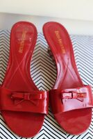 ENZO ANGIOLINI 7.5 M Slip-on Bow Wedge Sandals Red Leather Women's Shoes
