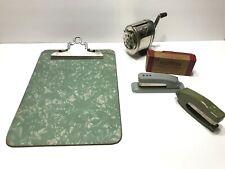 5 Vintage Office Desk Supplies Lot Pencil Sharpener Staplers Clip Board