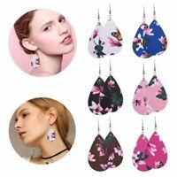 Handmade Leather Drop Dangle Earrings Hook Boho Flower Teardrop Women Jewelry