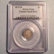 - Canada 1875 H Small Date 5 Five Cents Victoria PCGS VF 30