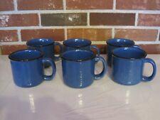 6 VINTAGE MARLBORO UNLIMITED BLUE SPECKLED CERAMIC CUPS / MUGS