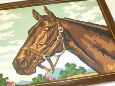 "Vintage Completed PAINT BY NUMBER PAINTING HORSE PBN Framed 13"" x 17"""