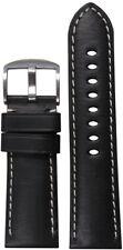 24mm Panatime Black HZ Leather Watch Band w White Stitching 24/22 125/75