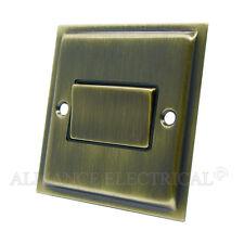 Slimline Antique Brass Fan Isolator Switch - 10 Amp 3-Pole Fan Isolation Switch