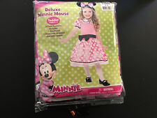 Disney Deluxe Minnie Mouse Costume Toddler 3-4 Dress, Attached Cameo & Headband