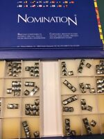 Nomination originale tessere a lettere acciaio oro componibili zirconi elementi