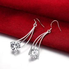 Womens 925 Sterling Silver CZ Crystal 55mm Long Drop Dangle Earrings #EA118