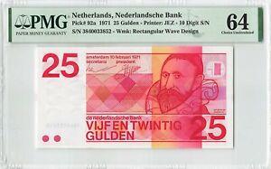 Netherlands 25 Gulden 1971 Sweelinck Pick 92a PMG Choice Uncirculated 64